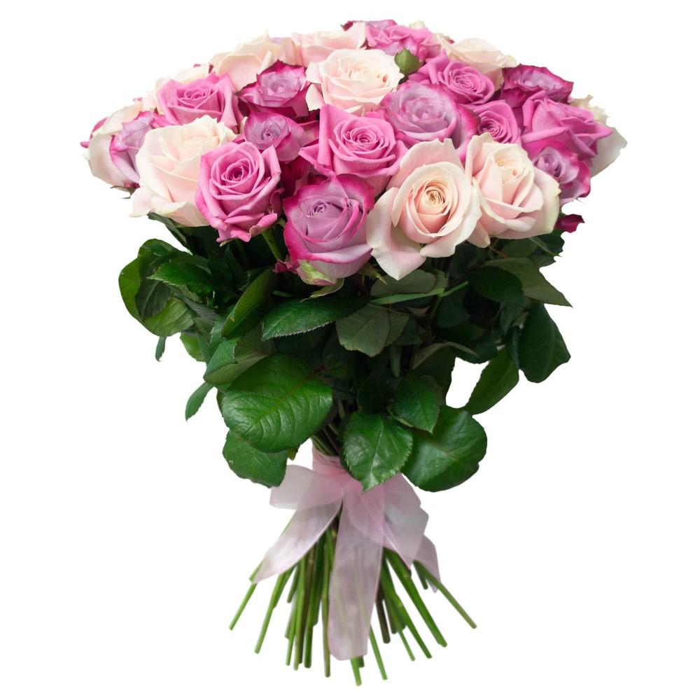 Букет из 51 белой и фиолетовой розы